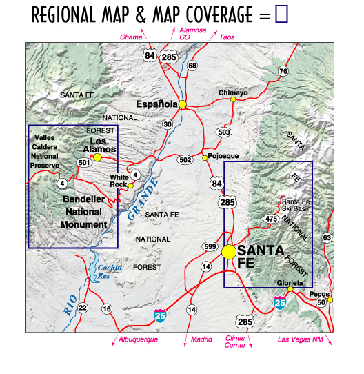 Santa Fe Bandelier Los Alamos NM Topographic Recreation Map - Topographical map of new mexico