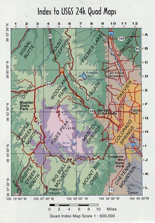 Garden Of The Gods Colorado Map.Colorado Springs Pikes Peak Co Topographic Recreation Map For