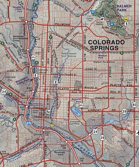 Colorado Springs And: Colorado Springs And Pikes Peak, CO Topographic Recreation