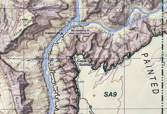 Topographic Map Grand Canyon.Grand Canyon National Park Topographic Trail Map For Hiking Camping