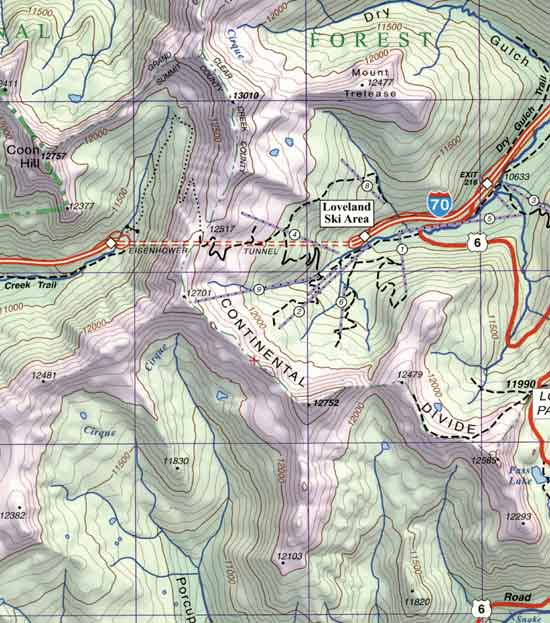 Summit, Vail and Holy Cross, Eisenhower Tunnel CO Topographic ...