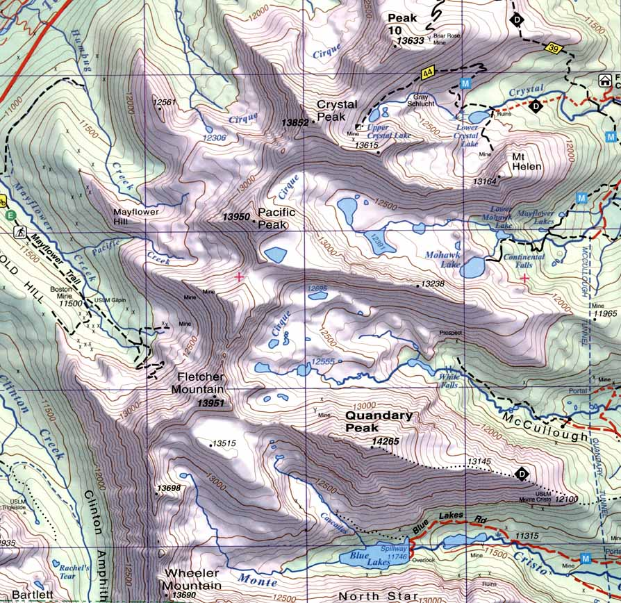 Summit, Vail and Holy Cross, Quandary Peak Sky Terrain Topographic ...