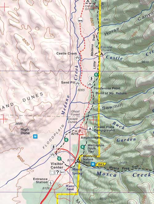 Sangre De Cristo and Great Sand Dunes NP Recreation Map for ... on california national park map, sand flats campground calaveras county, canyons national park map, moon national park map, colorado map, volcanoes national park map, mexico national park map, sand creek colorado, namibia map, river national park map, grasslands national park map, v&t railroad map, black canyon of gunnison map, namib desert map, garden of the gods map,